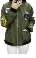 Women Thin Badge Appliqus Exaggerated Long Sleeve Flight Jacket